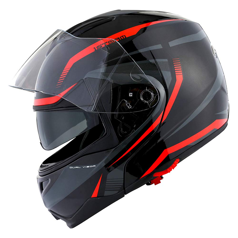 1Storm Motorcycle Street Bike Modular/Flip up Dual Visor/Sun Shield Full Face Helmet Storm Tron Red by 1Storm (Image #1)