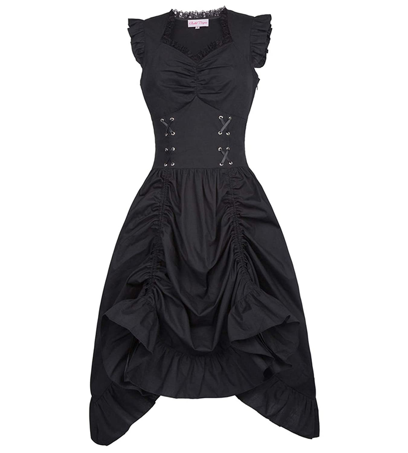MEET ME-punk dress Sleeveless V-Neck Lace-up Corset Ruffle Dress Retro Vintage Steampunk Black Punk Gothic Victorian Dress at Amazon Womens Clothing store:
