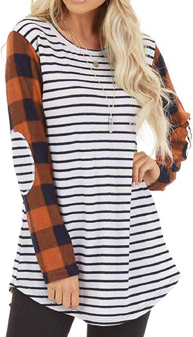 Womens Long Sleeve Stripe T Shirts Elbow Patch Plaid Sleeve Casual Crew Neck Tunic Blouses Tee Tops