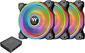 Thermaltake Riing Quad 120mm 16.8 Million RGB Color (Alexa, Razer Chroma) Software Enabled 4 Light Rings 54 Addressable LED 9 Blades Hydraulic Bearing Case/Radiator Fan CL-F088-PL12SW-B