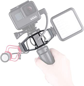 Vlogging Mount Bracket Tripod Stand Adapter with 1//4 Screw Cold Shoe for Microphone Video Light Action Camera