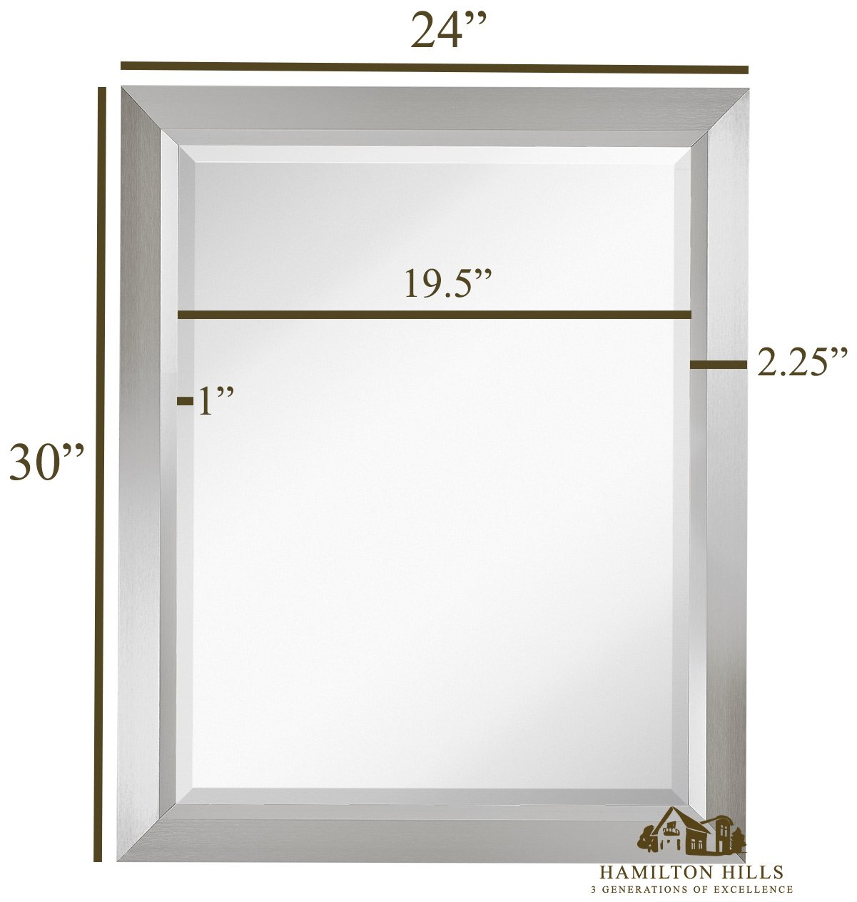 Premium Rectangular Brushed Aluminum Wall Mirror Contemporary Metal Frame Silver Backed Mirrored Glass Vanity, Bedroom or Bathroom Rectangle Hangs Horizontal or Vertical 24 x 30