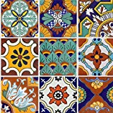 Tile Stickers Mexican Talavera 24pc 4-1/4in Peel and Stick for kitchen and bath TR008-4Q