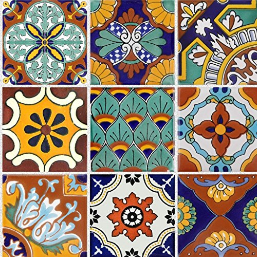 Tile Stickers Mexican Talavera 24pc 4-1/4in Peel and Stick for kitchen and bath TR008-4Q by SnazzyDecal