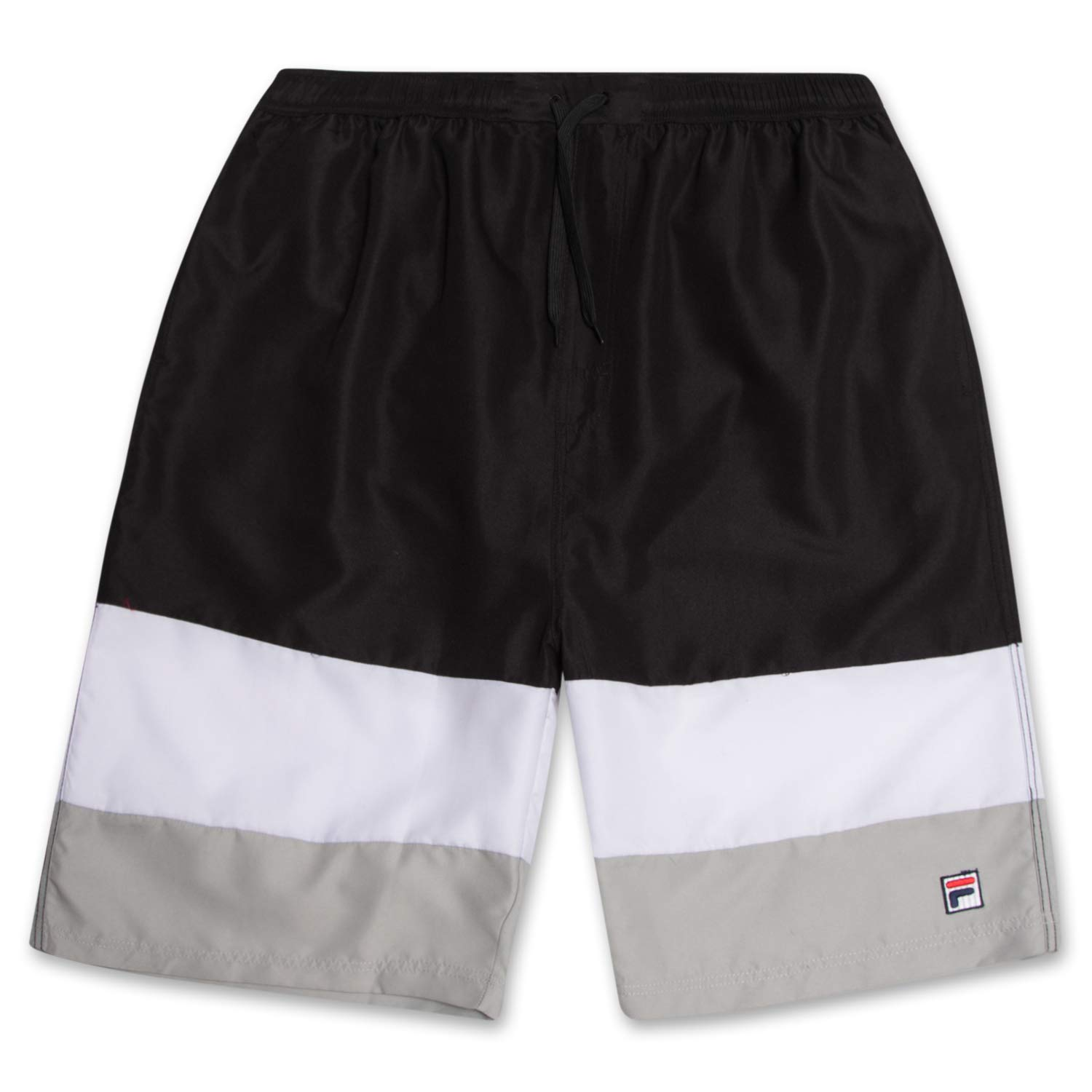 Fila Mens Big and Tall Color Block Long Swim Trunks Mesh Lined with Quick Dry Technology by Fila