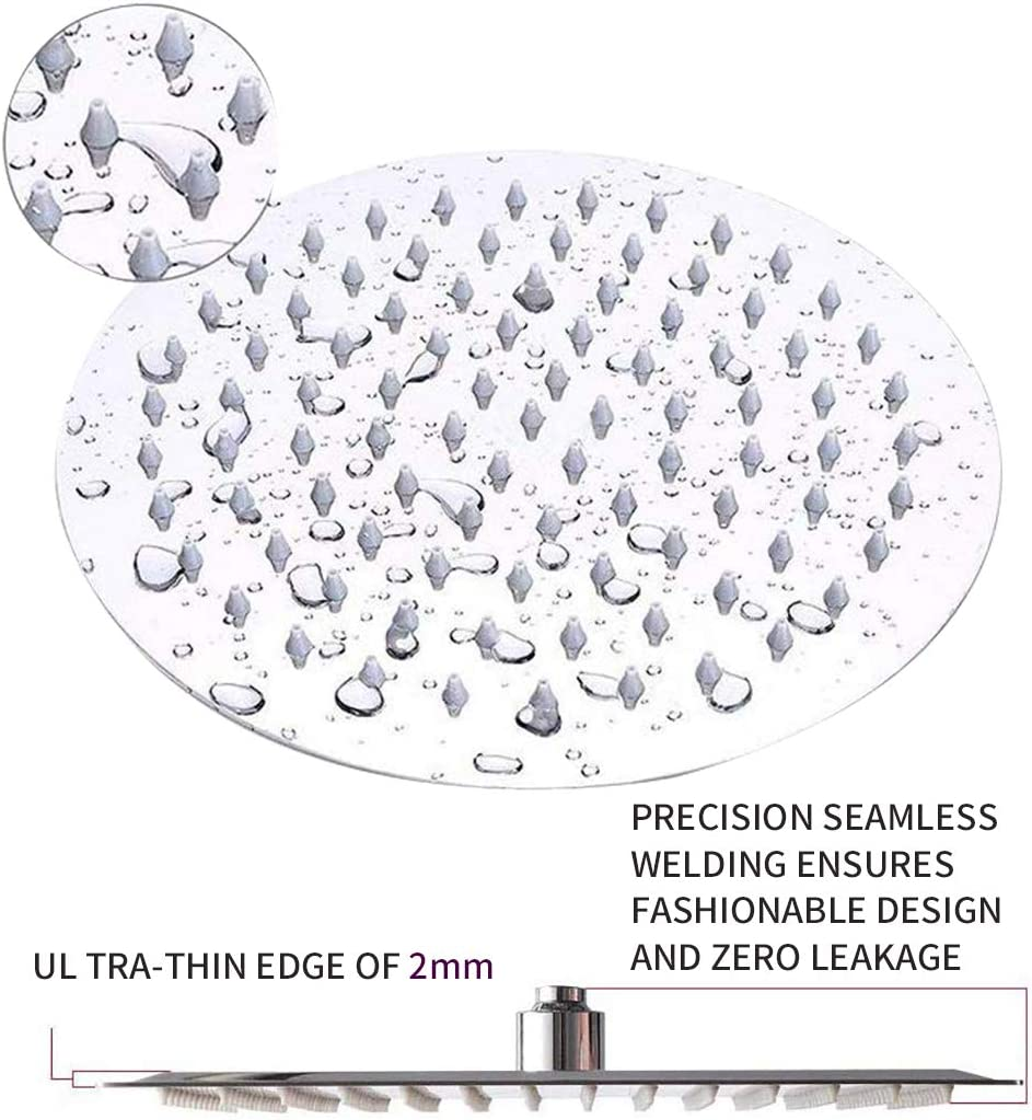 Round Shower Set Luxurious Stainless Steel 8 Rain Showerhead and 5 ...