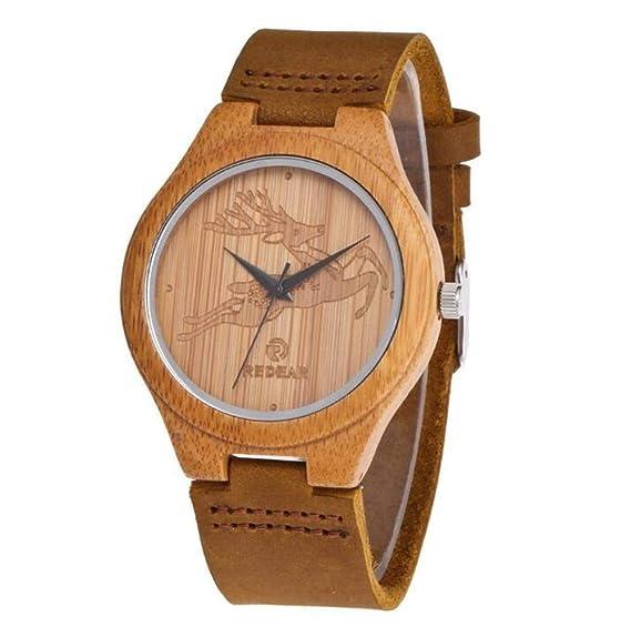 Reloj Simple Ciervo Bambú Madera Cuarzo Parejas Relojes para Mujeres Hombres: Amazon.es: Relojes