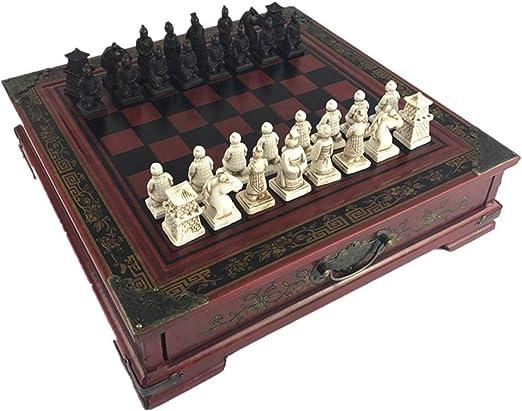 Ajedrez de viaje Guerreros de terracota retro juego de ajedrez for niños y adultos la familia