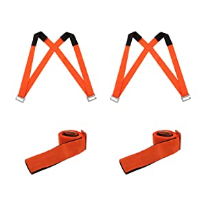 M MOKENEYE Moving Straps, 2 Person Lifting and Moving System, Adjustable Shoulder Lifting Moving Straps Belts for Moving Furniture, Household Appliances, Mattresses, Heavy Objects (Orange)