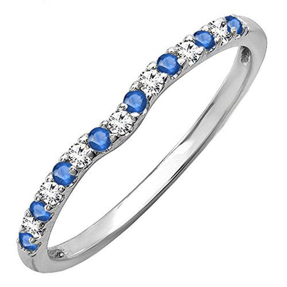14K White Gold Round Blue Sapphire & White Diamond Anniversary Wedding Ring Matching Band (Size 6.5)