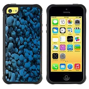 Fuerte Suave TPU GEL Caso Carcasa de Protección Funda para Apple Iphone 5C / Business Style Blue Pebbles Stones