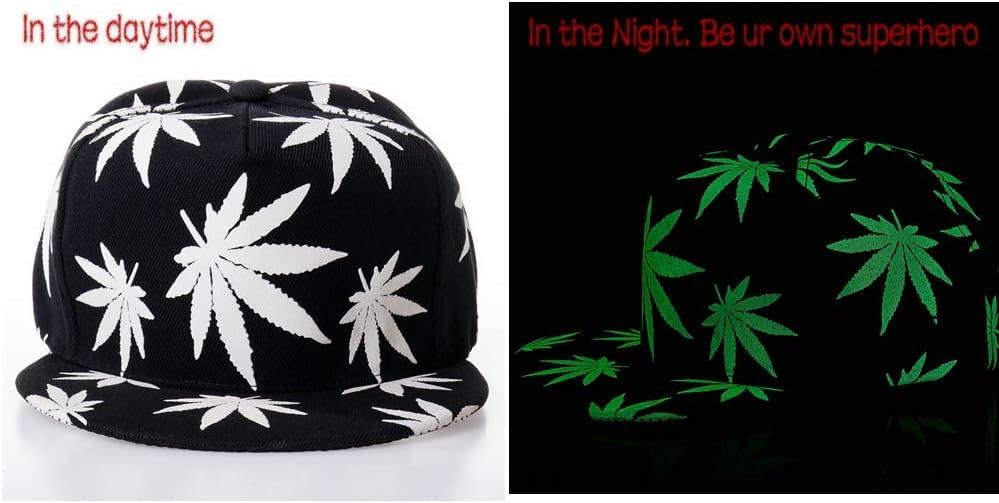 Solid Flat Bill Adjustable Snapback Luminous Hats Night Glow Cap Blacklight Baseball Cap Hat Unisex Baseball Cap