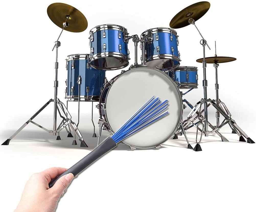 Timiy Blue+Black 1Pair 13Inch Retractable Nylon Drum Brushes For Jazz Rock