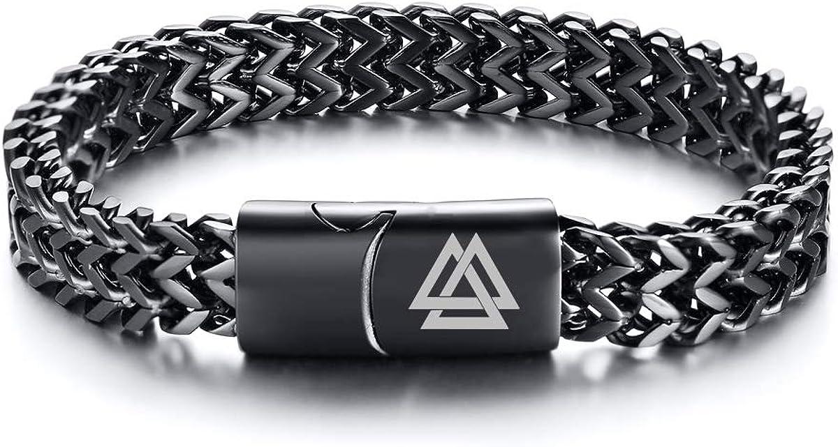 VNOX Viking Valknut Nordic Amulet Biker Franco Link Curb Chain Magnetic Clasp Bracelet for Unisex,2 Color