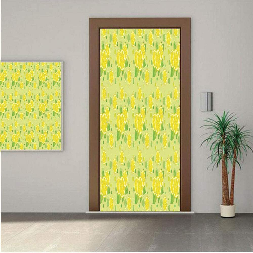 Ylljy00 Kitchen Decor Door Wall Mural Wallpaper Stickers,Lemon and Lime Pattern Retro Vintage Style Citrus Fruit Circles Natural Image 28x80 Vinyl Removable Decals for Home Decoration