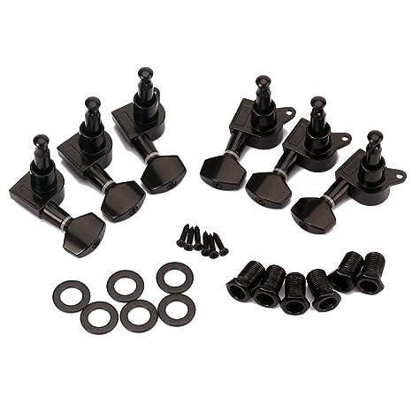 Healifty 6 PCS 3L3R Clavijas de afinación para guitarra sellada Llaves Cabezales de la máquina Afinadores