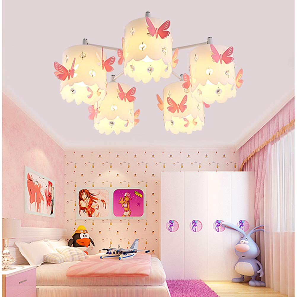 Kids Chandeliers For Girls Room Led Pink Crystals Butterfly Round