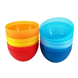 32-ounce Plastic Bowls Unbreakable Dishwasher Safe 6-inch Dinnerware Set of 12 in 6 Assorted Colors BPA Free