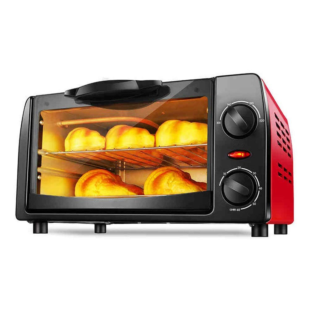 CMmin Home Toaster Oven With Bake Pan,Multi-function Automatic Small Oven 10L Volume 800W Power 2 Layer Baking,Large,Timed Temperature Control(Red)