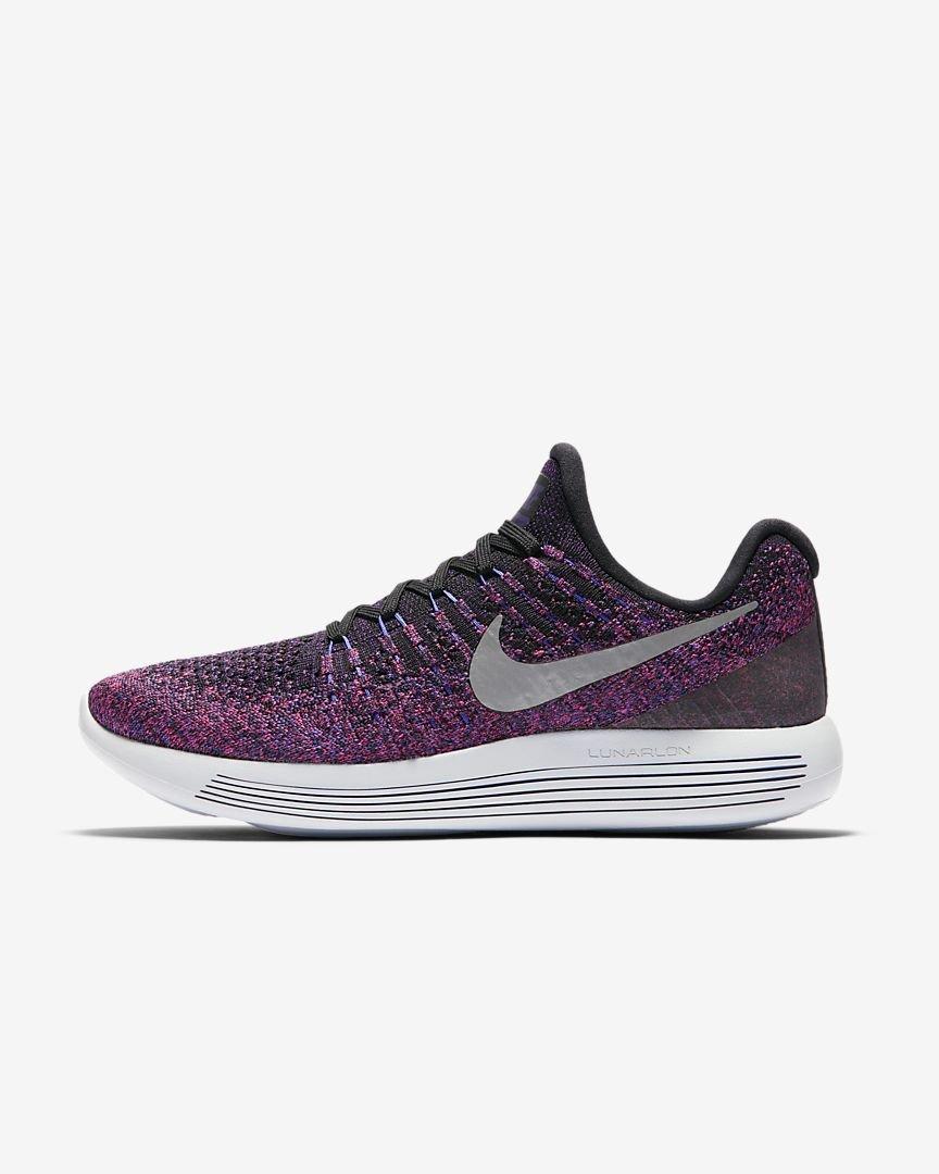 NIKE Womens Lunarepic Low Flyknit 2 Running Shoe Size 11, Black/Hyper Punch/