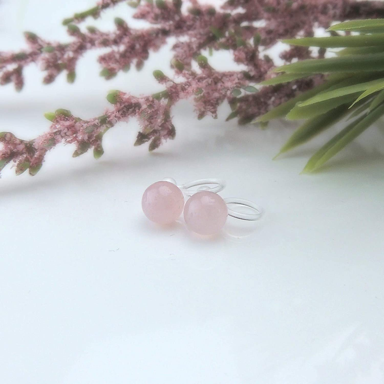 12mm Invisible Clip On Rose Quartz Stone Cabochon Earrings for Non-Pierced Ears
