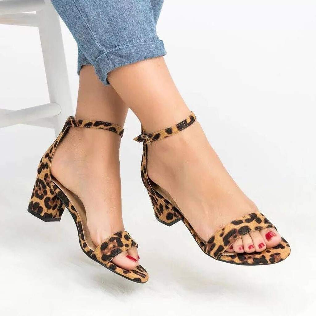 1647cd95ab07 Womens Summer Sexy Leopard Print Heeled Sandals Buckle Ankle Strap Open Toe  Sandals Shoes at Amazon Women's Clothing store: