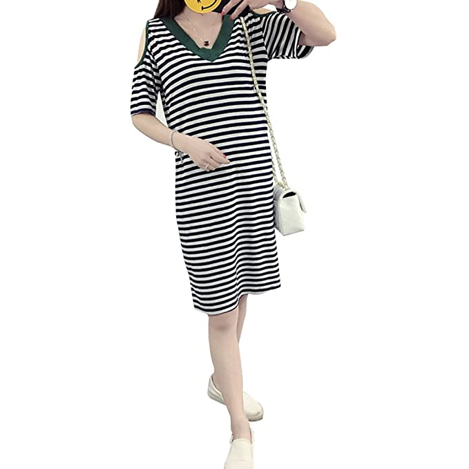 KINDOYO Vestido Lactancia de Mujer Embarazo - Moda Clásico Cuello en V Raya Premamá Blusa Maternidad