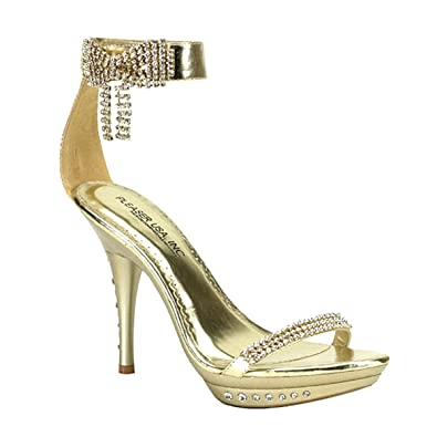 Amazon.com | Womens Strappy Shoes Gold High Heels 4 1/4 Inch Heel ...