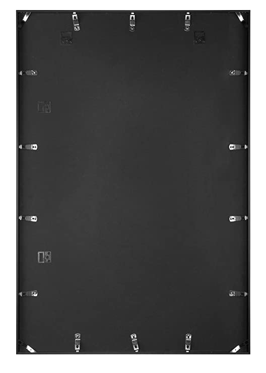 Frametory, 24 by 36 Inch Modern Metallic Large Picture Frame, Poster Wall Frames - Aluminum Black Photo Frame (24x36)