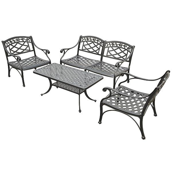 Crosley 4-Piece Sedona Cast Aluminum Outdoor Conversation Seating Set, Black Finish