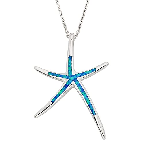 Beaux Bijoux Sterling Silver, Gold Tone or Rose Tone Created Blue, White or Pink Opal Starfish 18 Pendant Necklace