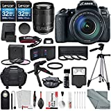 Canon EOS Rebel 77D DSLR Camera with Canon EF-S 18-135mm f/3.5-5.6 IS USM Lens and 2 X 32GB, Lens, Filters, Tripods, Case, Flash, Remote, Xpix Lens Accessories
