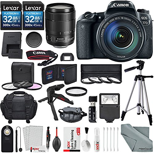 Price comparison product image Canon EOS Rebel 77D DSLR Camera with Canon EF-S 18-135mm f/3.5-5.6 IS USM Lens and 2X 32GB, Lens, Filters, Tripods, Case, Flash, Remote, Xpix Lens Accessories