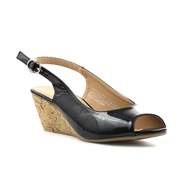 adf67c8f4891 Lilley Womens Black Open Toe Slingback Sandal  Amazon.co.uk  Shoes ...