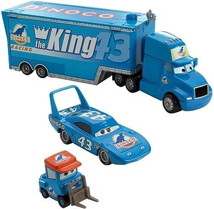 Amazon Com Disney Pixar Cars Movie 1 55 Die Cast Car Exclusive Team Dinoco Gray Hauler King And Dinoco Pitty Piston Nights Package Toys Games