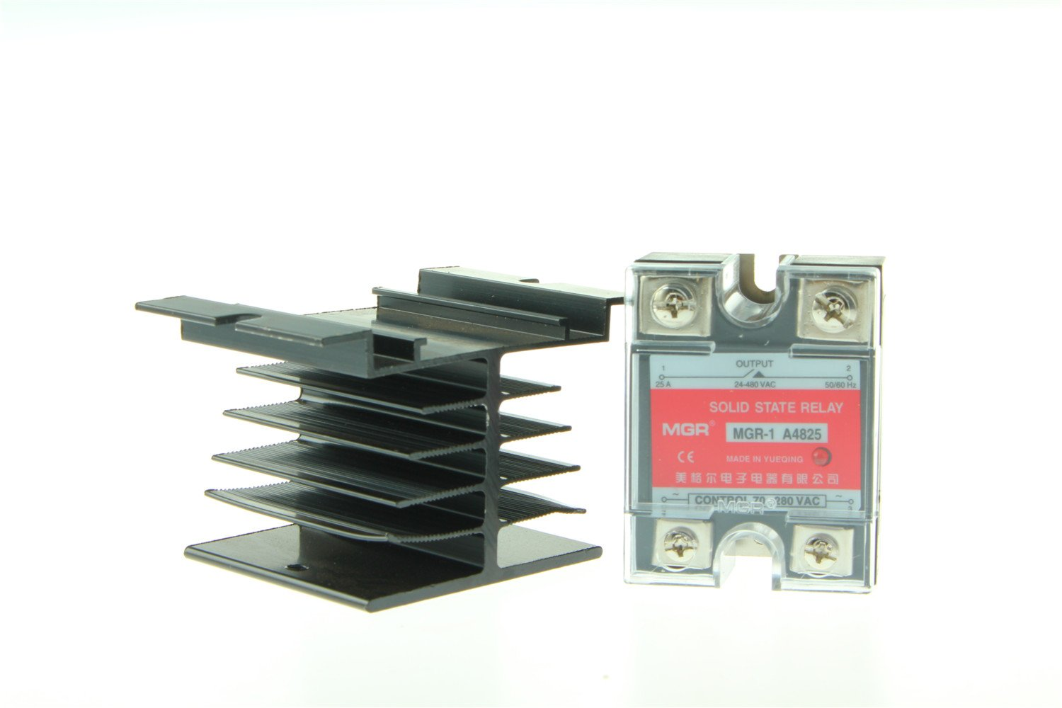 25A Solid State Relay SSR AC-AC Input 70-280V AC Load 24-480V/âAC A4825+Heat Sink US Stock