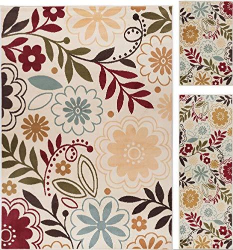 (Skyler Contemporary Floral Beige 3-Piece Area Rug Set, 3-Piece Set )
