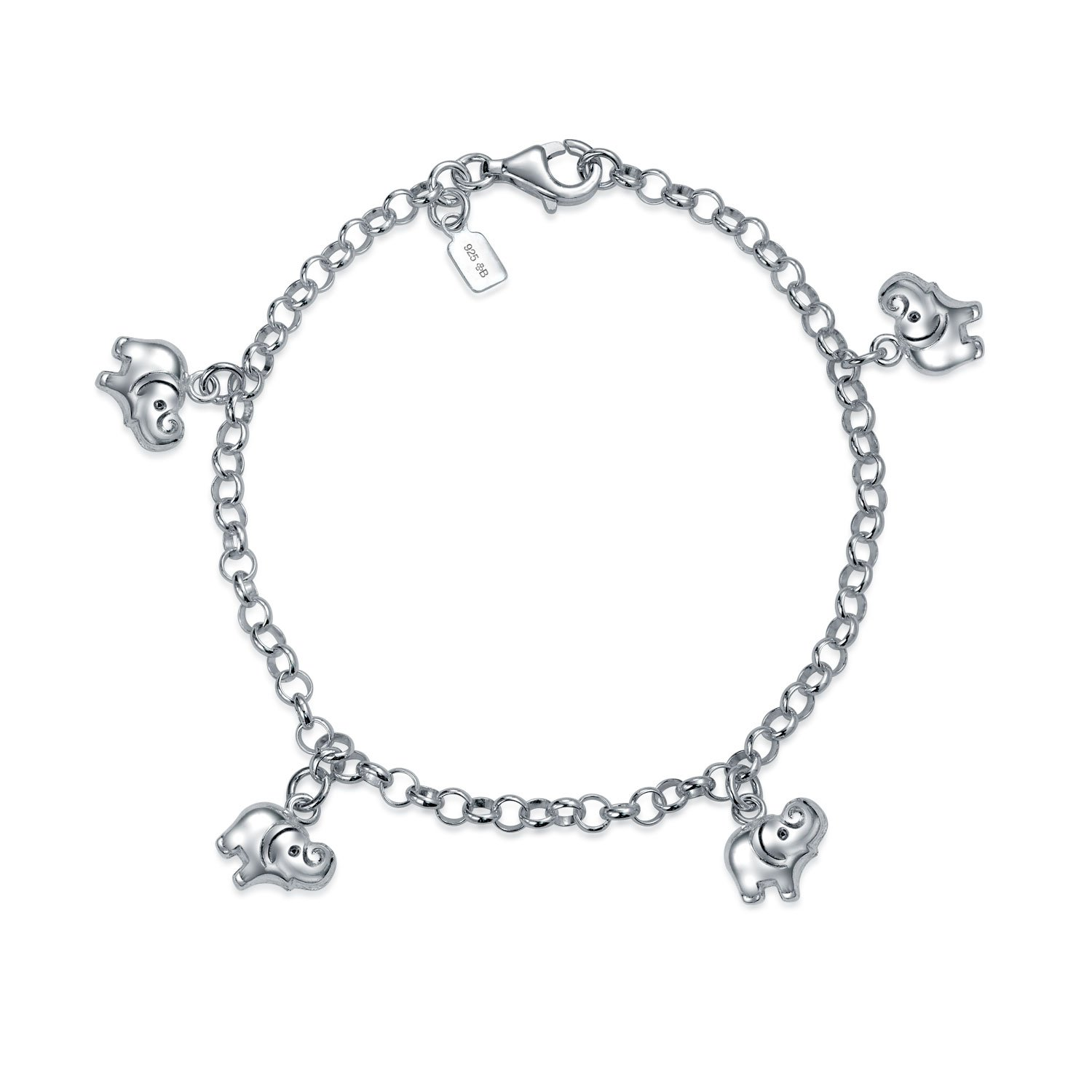 Minimalist Good Luck Multi Charm Dangling Elephant Bracelet For Women For Teen 925 Sterling Silver