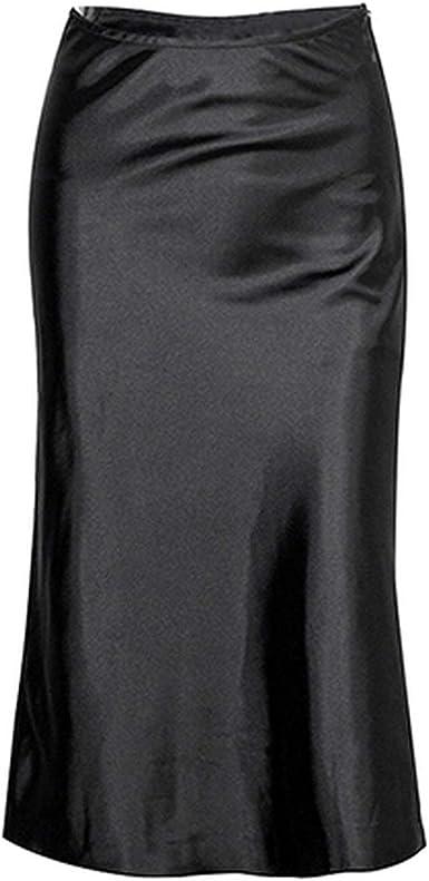 Solarphoenix Falda de seda negra para mujer, otoño, hasta la ...
