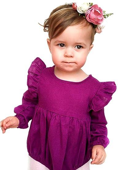 14104c2f38e6 Amazon.com  2Bunnies Baby Girl Autumn Ruffle Long Sleeve Bodysuit Jumpsuit  Romper (Plum