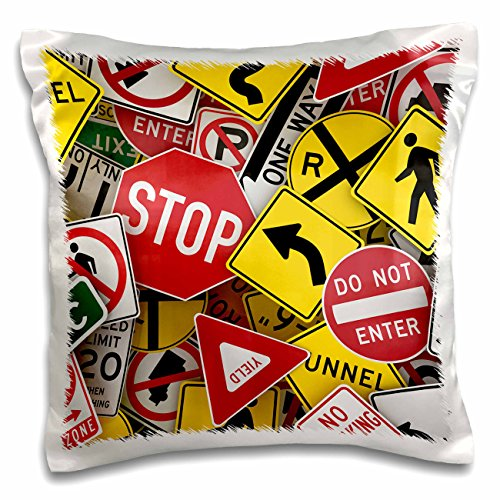Road Stop - 3dRose pc_155154_1 American Road Sign Signs Collage Street Stop Yield Use Pillow Case, 16