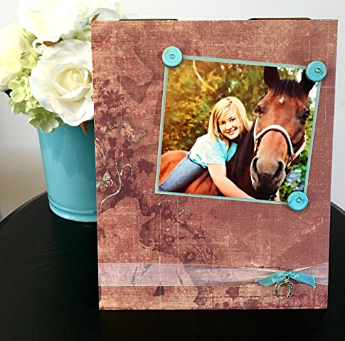 Cowgirl Silhouette - Magnetic Picture Frame Handmade Gift Present Home Decor by Frame A Memory Size 9 x 11 Holds 5 x 7 Photo - Horse Lover Country Western Girl Lifestyle