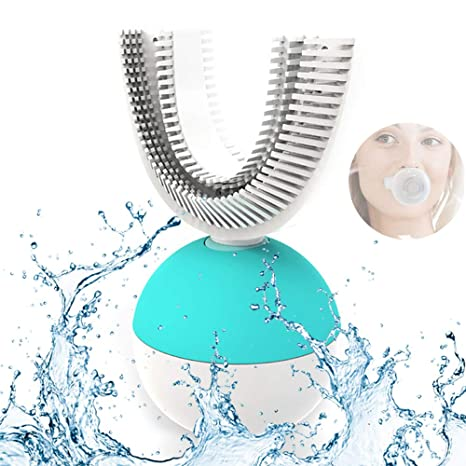 WCG U Forma Cepillo de Dientes eléctrico 360 Grados Recargable Amabrush ultrasónico inalámbrico Manos Libres automático