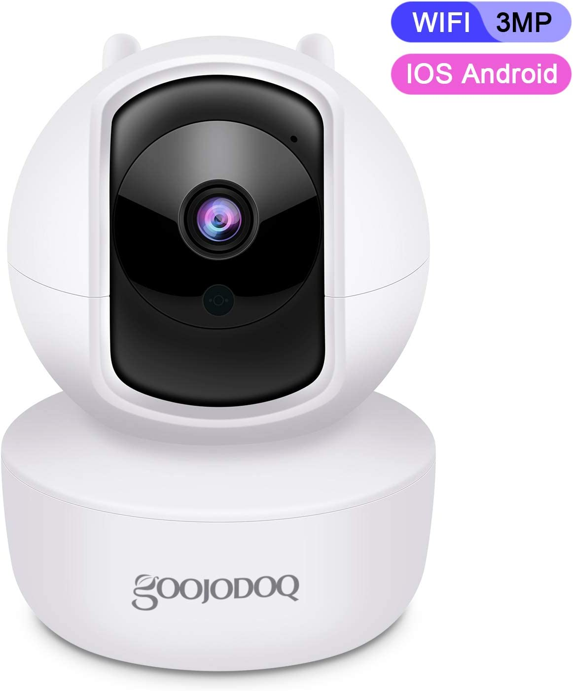 WiFi Security Camera, Goojodoq 3MP HD Security Camera with Auto-Cruise, Two-Way Audio Baby Pets Monitor, Motion Detection Alert, Surveillance Camera, Support iOS, Android, Video Monitor White