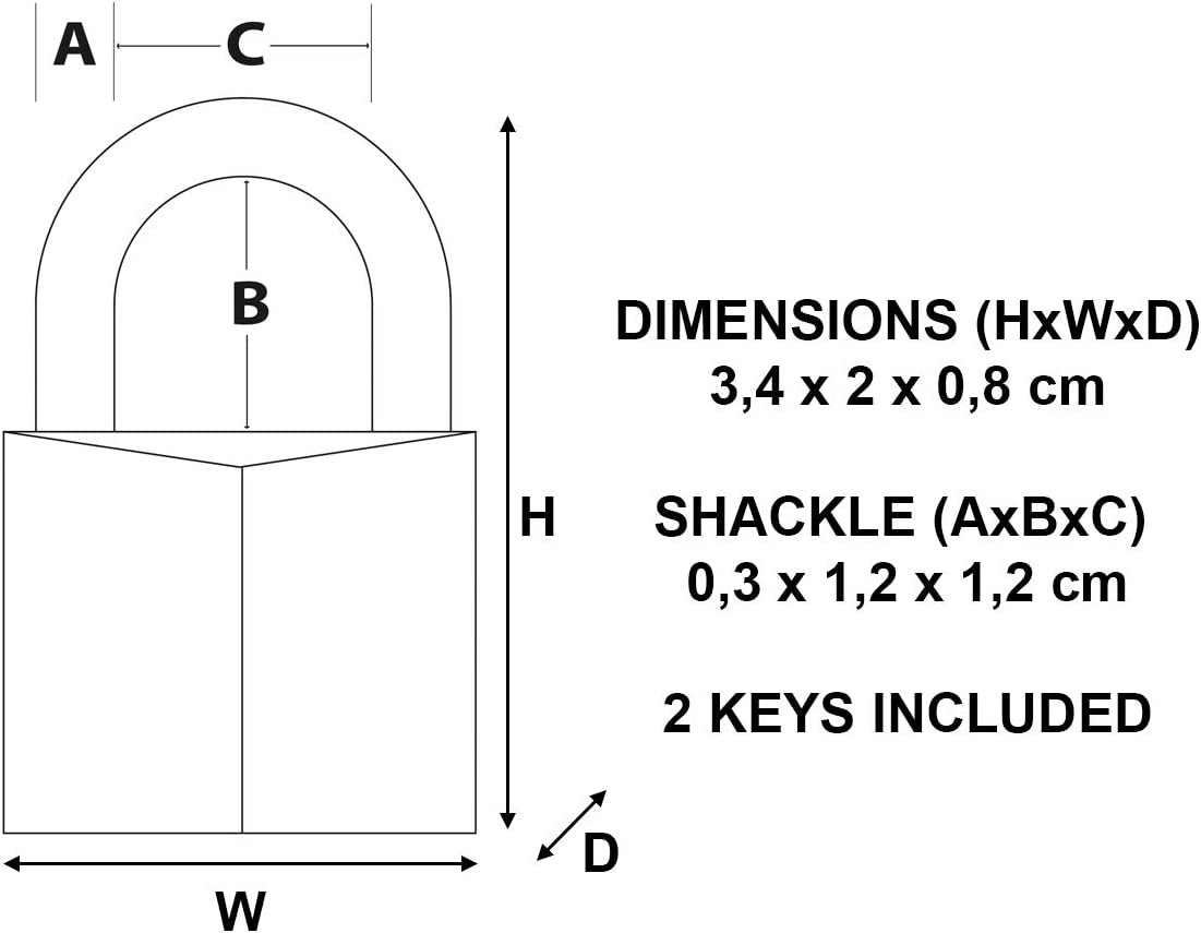 3,4 x 2 x 0,8 cm Master Lock CAD20 Magnum Small Padlock with Brass Body and Key Gold