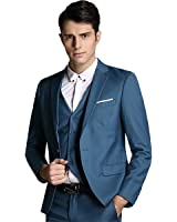 Men's 3-Piece Suit Notched Lapel One Button Modern Fit Suit Blazer Jacket Tux Vest & Trousers