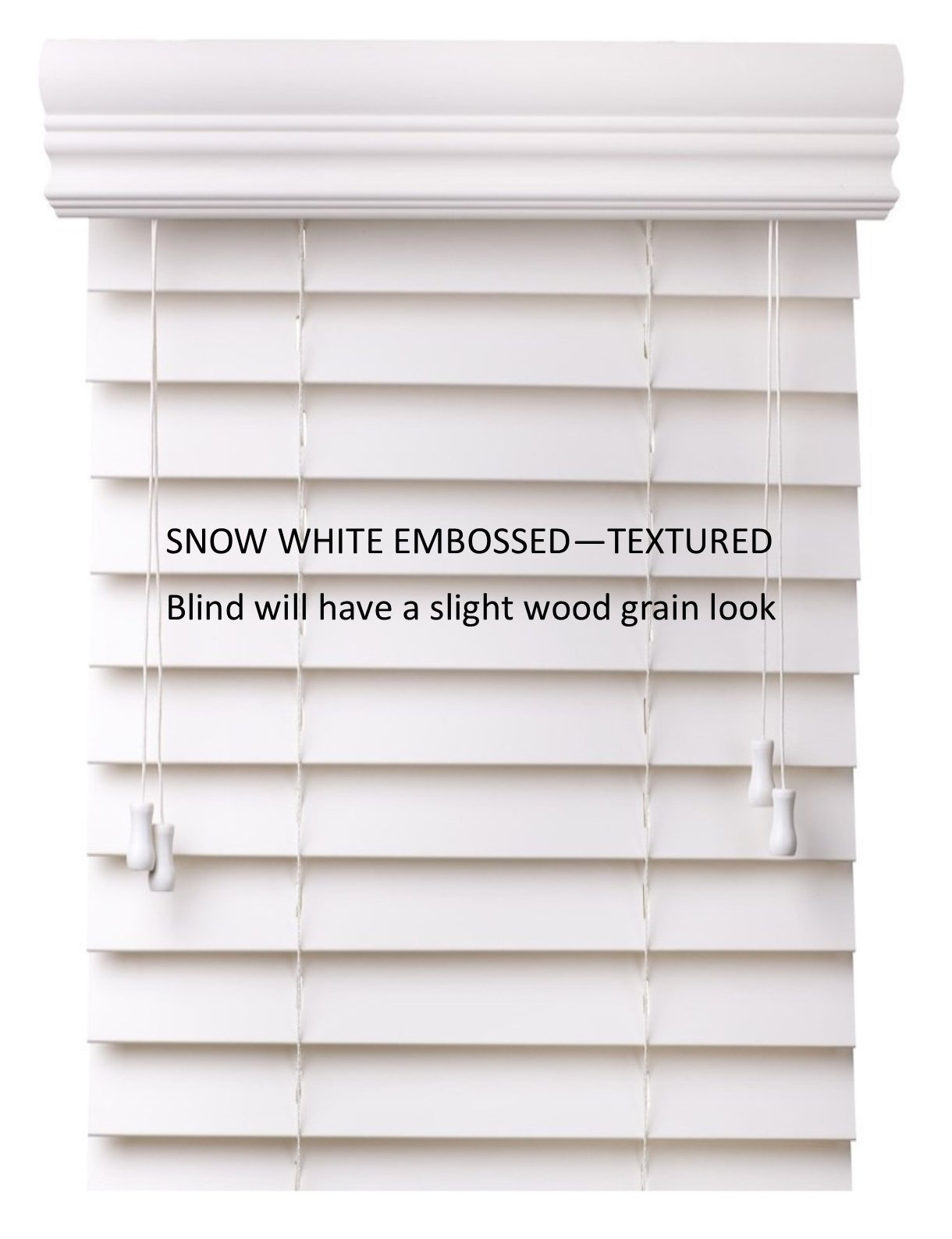 Spotblinds Custom Cut to Size 2'' Premium Faux Wood Blinds From 24'' Wide to 60'' Long Color Snow White Embossed (24'' W x 36'' L)