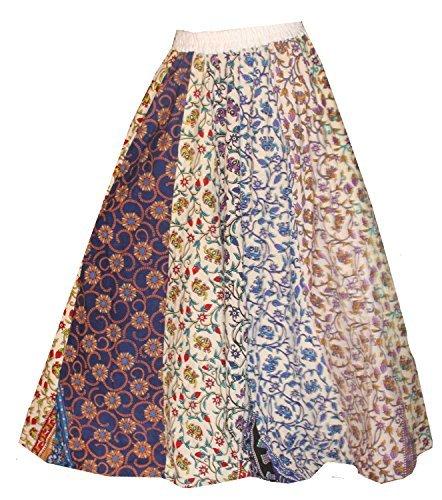 Lakkar Haveli Indian 100% cotton Women Multi color Long Skirt Hippie Plus size Floral Print (West Size 48-52 Inches) -
