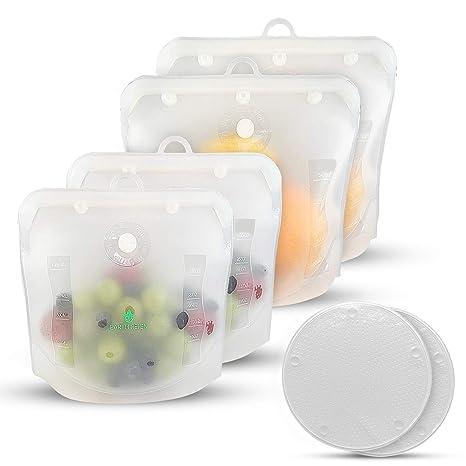 Amazon.com: Bolsa de alimentos de silicona reutilizable, sin ...