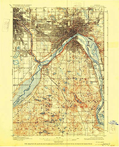 YellowMaps St Paul MN topo map, 1:62500 Scale, 15 X 15 Minute, Historical, 1896, Updated 1928, 20.07 x 16.25 in - Paper